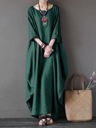 L-5XL Casual Kadın Gevşek Saf Renk Baggy 3/4 Kollu Maxi Elbise
