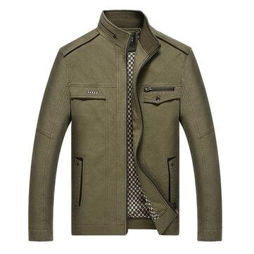 पुरुषों स्टाइलिश स्टैंड कॉलर आरामदायक कपास वसंत शरद जैकेट जिपर कोट