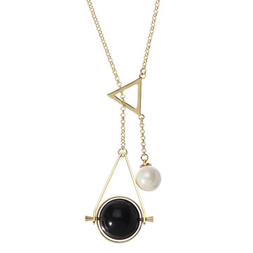 JASSY® 18K Gold Chain Geometric Shape Black Agate Shell Pearl Pendant Lariat Necklace Gift Women
