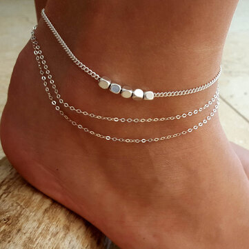 Trendy Sterling Silver Plated  Beads Anklet Barefoot Sandals Foot Chain for Women