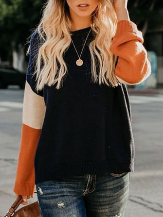 Women Casual Color-Block Knitted Long Sleeve Sweaters