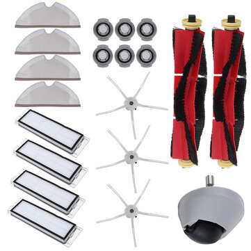 20pcs Replacements for Xiaomi Roborock S6 S60 S65 S5 MAX T6 Vacuum Cleaner Parts Accessories Main Brushes*2 Side Brushes*3 HEPA Filters*4 Mop Clothes*4 Water Codes*6 Wheel Caster*1[Non Original]