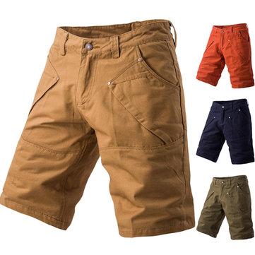 ग्रीष्मकालीन पुरुषों आरामदायक कैर्गो शॉर्ट्स पैंट शुद्ध रंग मल्टी पॉकेट पतलून