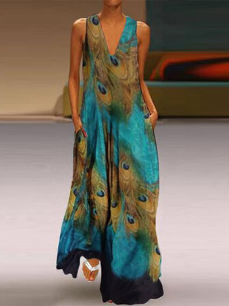 Women Sleeveless Peacock Print Bohemia Beach Long Maxi Dress