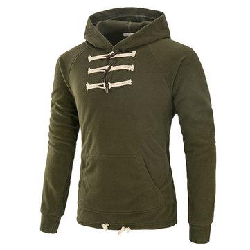 पुरुषों के लिए फैशन हॉर्न कपास ठोस रंग लंबी आस्तीन आरामदायक हूडीज़ sweatshirt