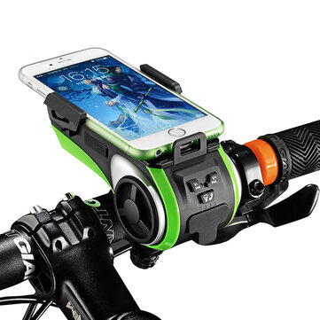 ROCKBROS Multifunction Bicycle Phone Holder Bike Light bluetooth Audio Powerbank Cycling Ring Bell Integrated USB Charger Bike Accessories