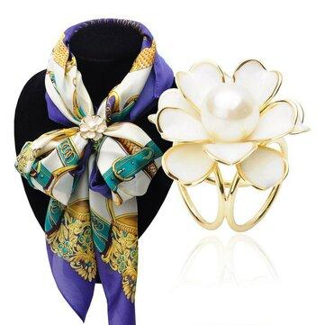 Elegante negro blanco flor perlas bufanda hebilla broches broche encanto regalo para Mujer