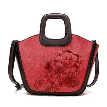 Women Leather Chinese Style Vintage  Embossed Handbag Shoulder Bag