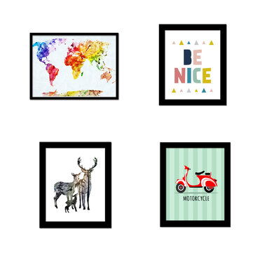 30X25CM DIY Combined Wall Spray Painting Animal Letter Map Geometrical Element Without Frame