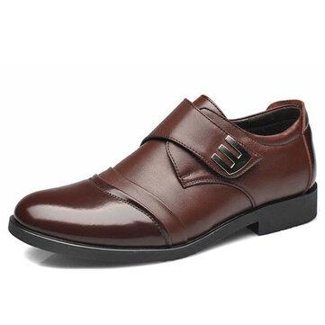 पुरुषों हुक लूप असली लेदर औपचारिक व्यापार जूते