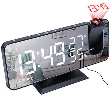 Electronic LED Projector Alarm Clock Desktop Digital Projection Alarm Clock Smart Home Bedroom Bedside Clock - Black