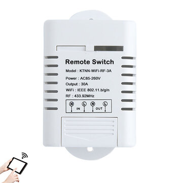 KTNNKG AC85-260V 30A 3000W High Power WIFI Smart Switch 433MHz Receiver Smart Home Gadgets Wireless Remote Control Switch APP Control Work Alexa Google Home