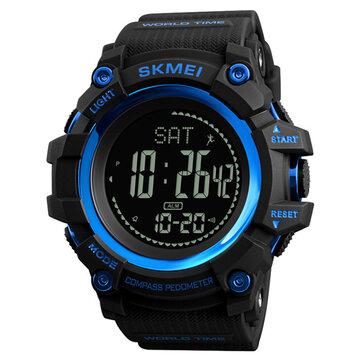 SKMEI 1356 Kompas Pedometer Kalori Olahraga Perhiasan Chronograph Waktu Dunia Stopwatch Digital Menonton
