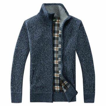 Hombres Moda Cremallera A cuadros Forro Cardigans Stand Collar engrosamiento abrigos