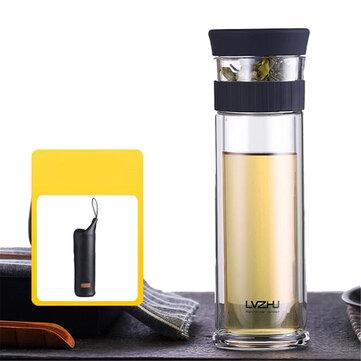300ml 400ml Kaca Botol Air Dinding Ganda Cangkir Minum Mug Dengan Teh Infuser