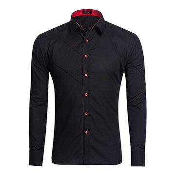 Män Casual Fashion Långärmad Lapel Shirt 6 Colors
