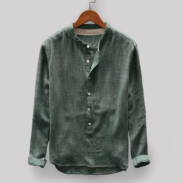 vendimia Hombres sueltos Cómodos Botón de color sólido Volar Cuello alto Manga larga Camisetas ocasionales