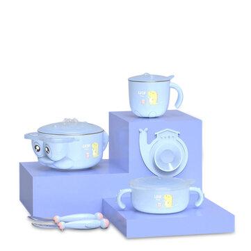 XIAOMI RUSHAN L-SCJ001 Happyduck 5PCS Baby Insulation Tableware Set Kids Bowl Spoon Fork Salad Bowl Milk Cup
