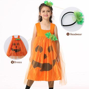 Calabaza Halloween Kid Girls Vestido traje de fantasía con sombreros