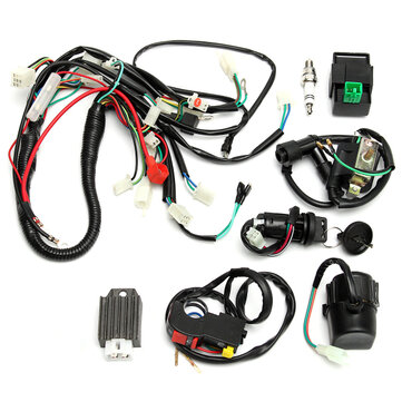 wiring harness kit for atv wiring harness loom start switch kit pit bike atv 4 go kart 50cc 110cc  kit pit bike atv 4 go kart 50cc 110cc
