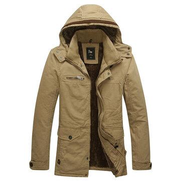 पुरुषों शीतकालीन मखमली प्लस आउटडोर मोटी गर्म हुड धोया बाहरी वस्त्र जैकेट