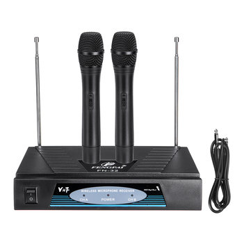 Professional 2 Channel VHF Wireless Dual Handheld Microphone Mic System Studios