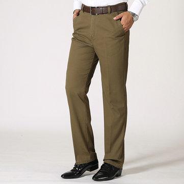 पुरुषों व्यापार कपास सांस लेने योग्य सूट पैंट ग्रीष्मकालीन सीधे पैर ठोस रंग आरामदायक पतलून