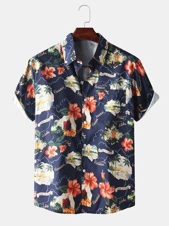Mens New Fashion Flower Print Turn Down Collar Short Sleeve Shirts