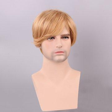 Blonde Men Short Human Hair Wig Male Mono Top Virgin Remy Capless Side Bang