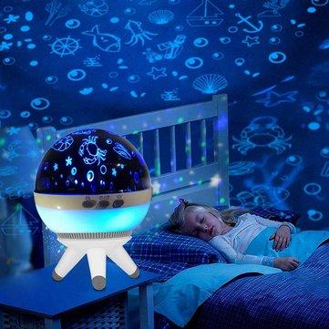 1W Romantic LED Rotating Ocean Projector Night Light For Kid Nursery Mood Sleep Decorative Lamp
