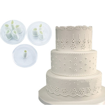 3pcs Lace Hole Plastic Fondant Cuttter Cake Cookie Buscuit Mold Baking Decorating Tools Sugarcraft