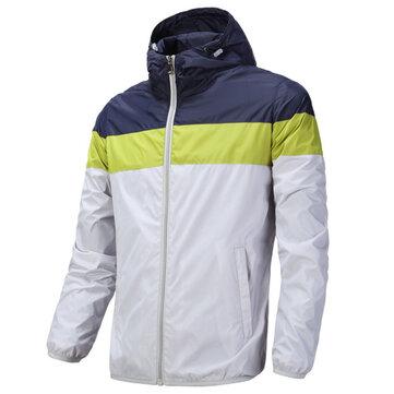 मेन्स Plus साइज़ कैज़ुअल स्टिचिंग कलर हूडेड विंडब्रेकर स्किन कोट ब्रीथेबल स्पोर्ट्स जैकेट