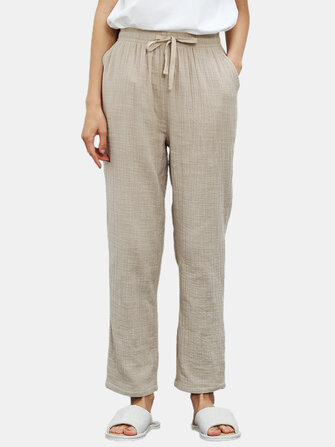 How can I buy Cotton Women Solid Color Pocket Drawstring Home Casual Pajamas Pants with Bitcoin