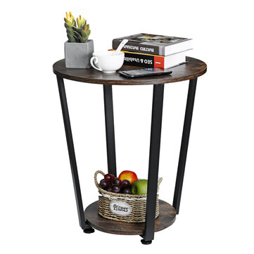 Douxlife® DL-ET02 2 Layers Round Table Desk Industrial Side Table Coffee Tea Table Organizer Racks with Adjustable Foot Pad for Living Room Bedroom