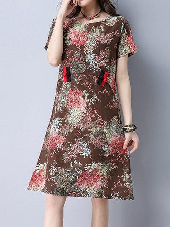 विंटेज महिला ओ-गर्दन मुद्रित प्लेट बकल लघु आस्तीन कपड़े