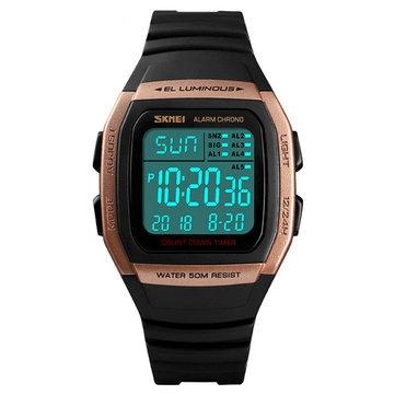 SKMEI 1278 al aire libre 50M Impermeable LED Reloj Hombre Fecha Luminoso Pantalla Cuenta atrás Reloj deportivo digital