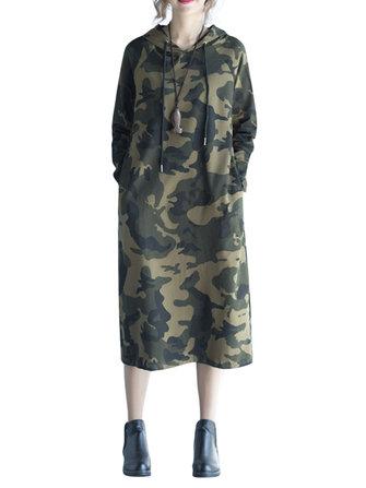 आरामदायक महिला लंबी आस्तीन छद्म जेब हुड ड्रेस