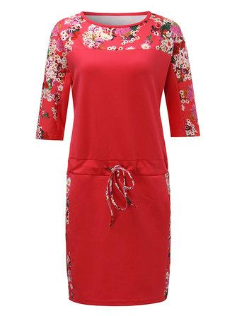 आरामदायक लूज महिला पुष्प पैचवर्क ड्रॉस्ट्रिंग सीधे पोशाक