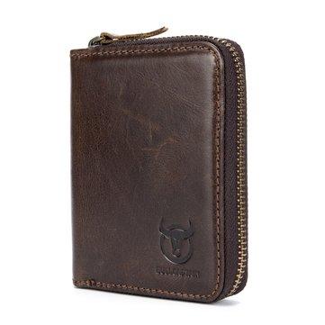 Bullcaptain Men RFID Blocking Secure Antimagnetic Genuine Leather 10 Card Slots Coin Bag Wallet