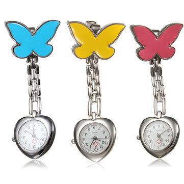 Butterfly Nurse Clip Heart Brooch Stainless Steel Pocket Quartz Watch