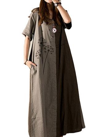 Casual Women Dandelion Printed Patchwork Scoop Neck Short Sleeve Maxi Dress