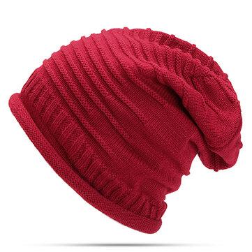 महिलाओं बुना हुआ ऊनी पट्टी बेनी टोपी आरामदायक तह गर्म सिर टोपी