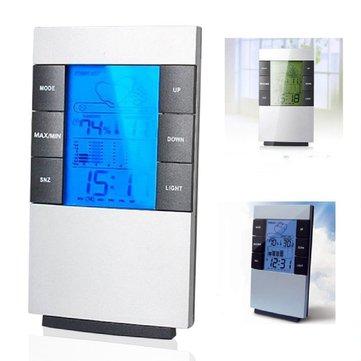 LCD Nhiệt kế kỹ thuật số đo độ ẩm Nhiệt độ điện tử Độ ẩm Đồng hồ Đồng hồ Trạm thời tiết
