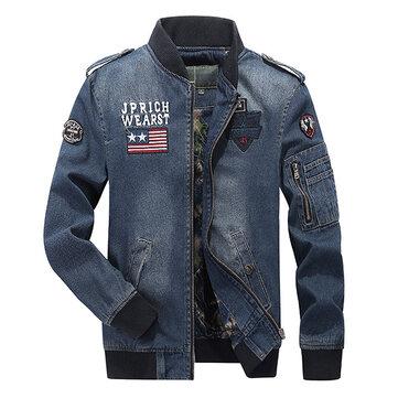 Mens Plus Size S-3x Thêu Armband Epaulet Trang trí Pilot Pilot Jacket Jacket