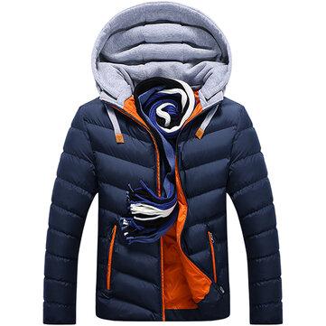 Chaqueta de punto con capucha gruesa de invierno para hombre Moda acolchada chaqueta de bolsillos con cremallera caliente ocasional