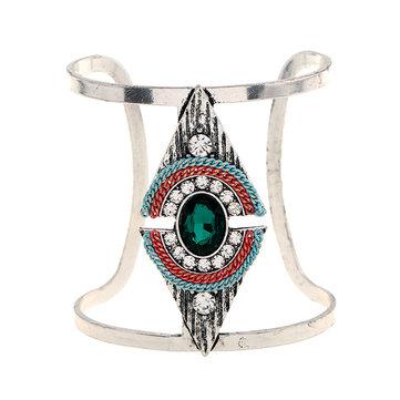 Bohemian Triangle Adjustable Bracelet Vintage Crystal Rhinestones Wide Bangle Bracelet for Women