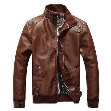प्लस साइज मेन्स फैशन ब्लैक फोक्स लेदर जैकेट स्टैंड कॉलर मोटरसाइकिल स्लिम फिट कोट