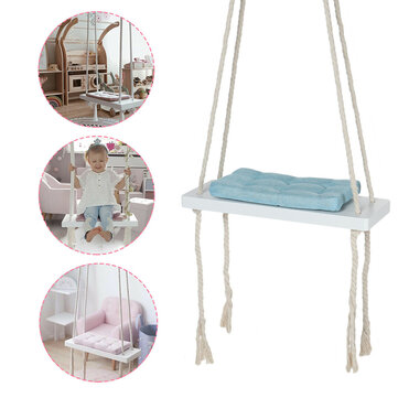 Kids Hanging Swing Chair Safety Rocking Seat Wooden Hammock Chair With Cushion Outdoor Indoor Sale Banggood Com