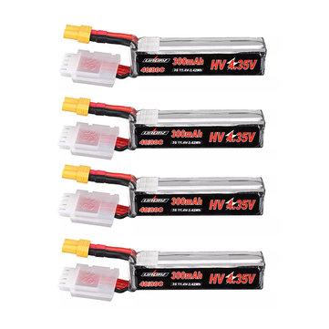 4Pcs URUAV 11.4V 300mAh 40C/80C 3S HV 4.35V Lipo Battery XT30 Plug for URUAV UR85/UR85HD Mobula7 HD Sailfly-X RC Drone