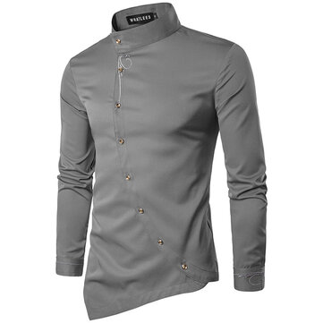Mens Fashion Diagonall Knappar Design Square Collar Long Sleeve Casual Shirts
